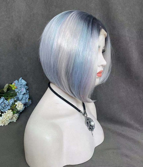 Skyler | Light Blue Pink Gray Bob Synthetic Lace Front Wig