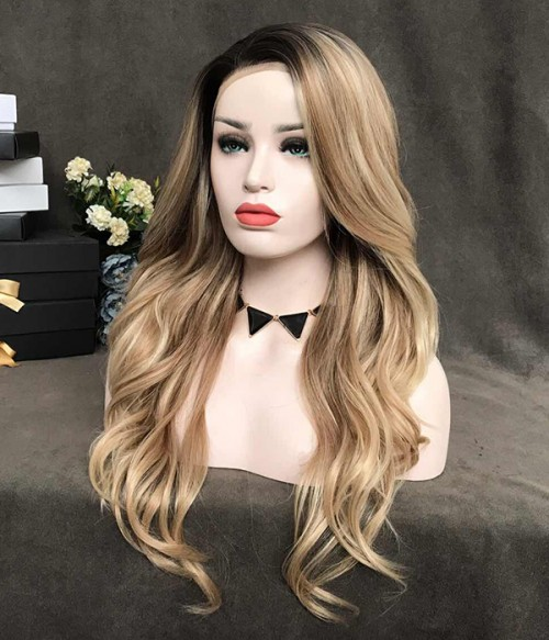 Desert Dream | Blonde Balayage Long Natural Wave Synthetic Lace Front Wig