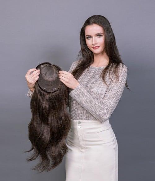 """8.5""""x9"""" Melanie   Wavy Mono Top Remy Human Hair Topper"""