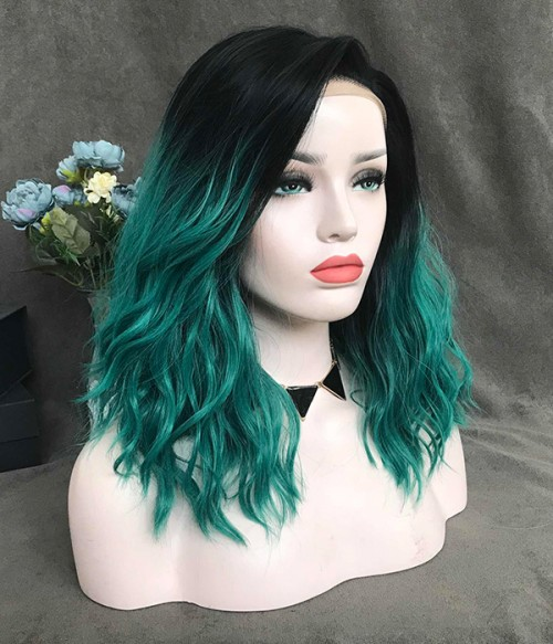 Dark Green Shoulder Length Synthetic Lace Front Wig