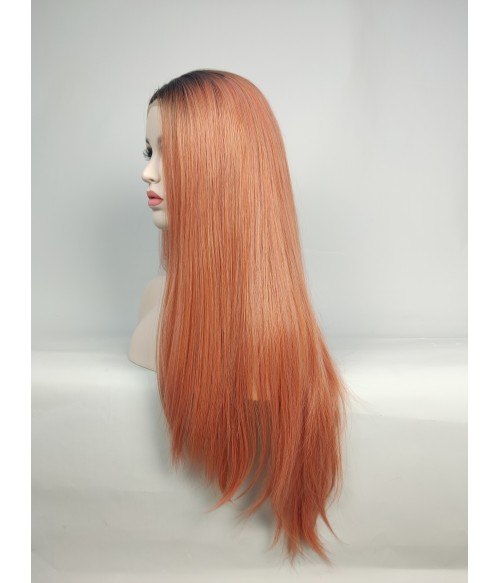Living Coral Long Silk Straight Synthetic Lace Front Wig