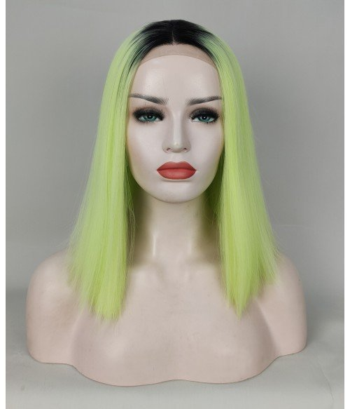 Neon Night | Chartreuse Yellow Shoulder Length Silk Straight Synthetic Lace Front Wig
