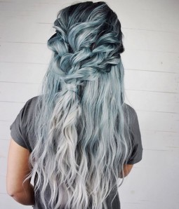 Vortex Ash Blue Gray Ombre with Dark Roots Long Wavy Synthetic Lace Front Wig
