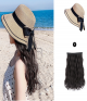 Straw Hat with Hair | Synthetic Long Wavy Hat Wig