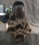 Toasted Umber Dark Brown Balayage Long Natural Wavy Synthetic Lace Front Wig