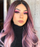 Hazelnut Swirl Ombre Ash Purple Long Natural Wavy Synthetic Lace Front Wig