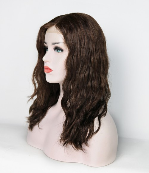Lydia Mono Top Full Hand-tied Human Hair Wig- 214-Chocolate Brownie