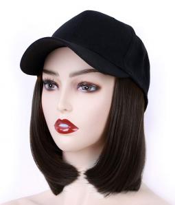 Cap with Hair | Synthetic Bob Baseball Hat Wig