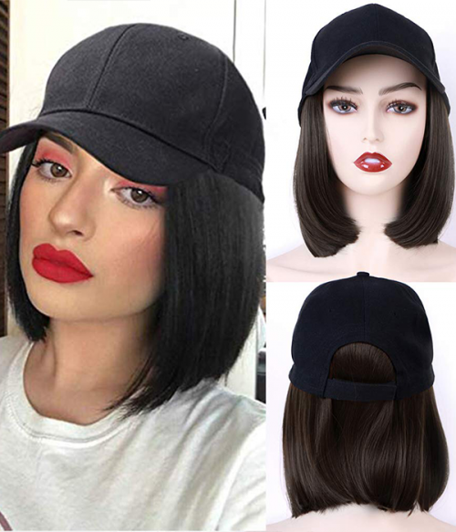 Cap with Hair | Synthetic Bob Baseball Hat Wig