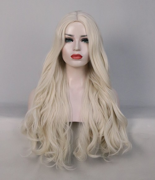 Limited White Blonde Long Wavy Synthetic Wig