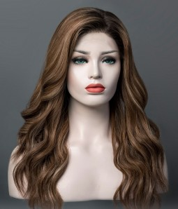 Taylor | Brunette Balayage Remy Human Hair Mono Top Wig | Lace Front