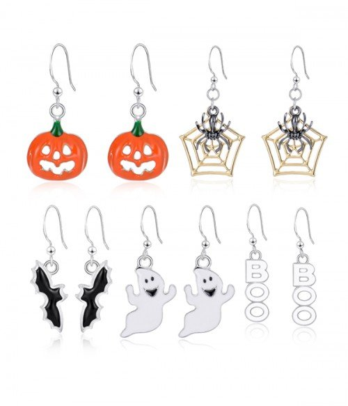 Limited Halloween Drop Dangle Earrings Set(5 pairs )Pumpkin | Ghost | Bat | Spider Web | Letter
