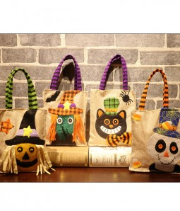 Limited 4-pack Halloween Treat Tote Bags Set | Skull | Black Cat | Pumpkin | Witch