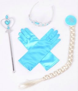 Limited Princess Elsa Crown | Magic Scepter | Gloves | Pigtail | Wig Cosplay Accessories Set