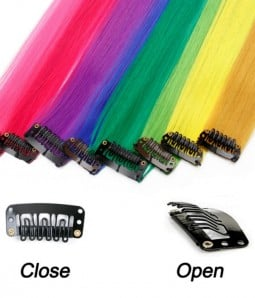 Colored Clip in Synthetic Hair Extensions