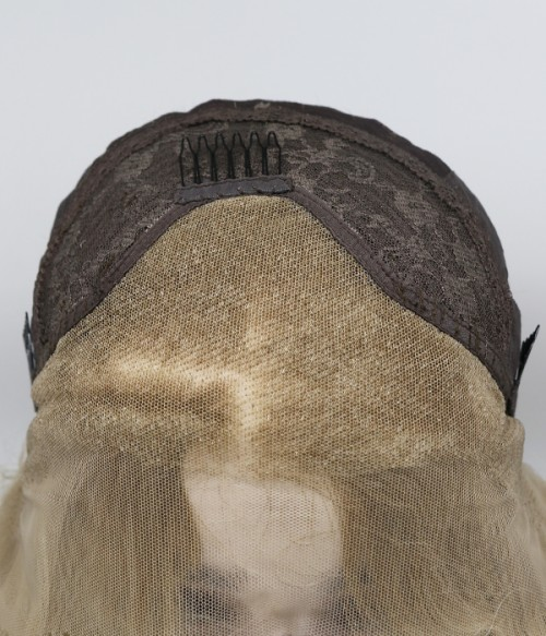 Warm Creamy Blonde with Ash Root Long Loose Curl Synthetic Lace Front Wig