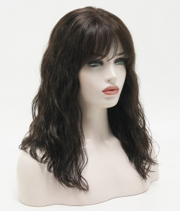 Kristy | Shoulder Length Natural Wave Hand-tied Human hair Mono Wig with Bangs