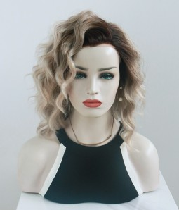 Valley Mist l Sliver and Blonde Blend With Dark Root Shoulder Length Lace Front Wig