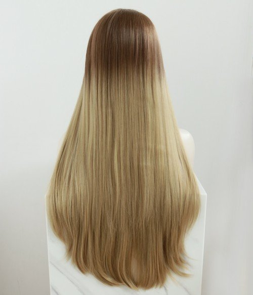 Mont Blanc l Cream Blonde With Brown Root Long Straight Lace Front Wig