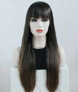 Eagle Owl l Dark Brown Balayage Long Straight Lace Front Wig With Bangs