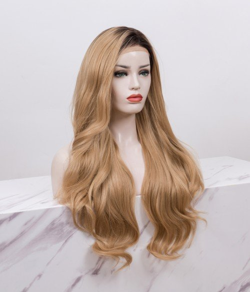 Blonde With Dark Root Long Loose Wave Synthetic Lace Front Wig