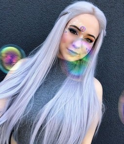 Cloud Pastel Blue Long Silk Straight Synthetic Lace Front Wig