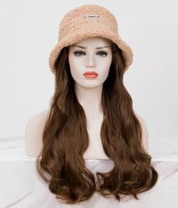 Faux Fur Bucket Hat l Synthetic Long Wavy Hat Wig