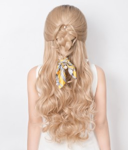 Blonde With Dark Root Long Wavy Synthetic Lace Front Wig