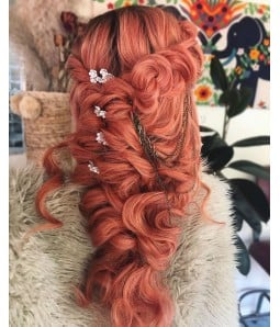 Living Coral Long Wavy Synthetic Lace Front Wig