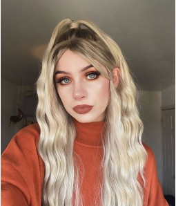 Blonde Half-ponytail Long Wavy with Bang Synthetic Lace Front Wig