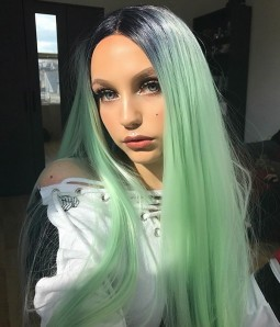 Mint Green with dark root long straight lace front wig