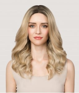 10R Creamy Ice | Gold blond blend with light blonde and dark roots