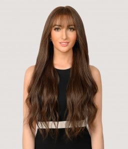 Lynette | Full Hand-tied Remy Human Hair Wig with bangs- G-4 Medium Brown