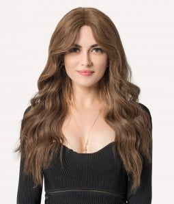 """10""""x10"""" Hera With Curtain Bangs   Mono Top Remy Human Hair Topper (3/4 Cap Wig)   Lace Front"""