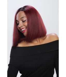 """Hollie   Straight Short Bob Ombre Burgundy Human Hair 13""""x4"""" Lace Front Wig"""