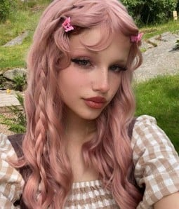 Pastel Pink Wavy Synthetic Wig with Bangs