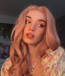 Coral Doll Pastel Pink Long Wavy Synthetic Lace Front Wig