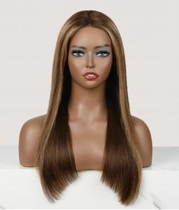 "Gymnastika   Straight Honey Blonde Highlight 4-27 Human Hair 13""x4"" Lace Wigs"
