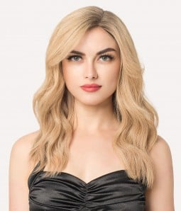 """7""""x8"""" Courtney with curtain bangs   Mono Part   Left Part Remy Human Hair Topper"""