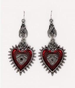 Evil Eye | Gothic Red Heart Drop Earrings