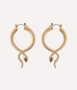 Metallic Snake| Gold Hoop Earrings