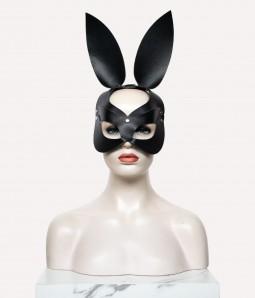 Black Leather Bunny face | Rabbit Ear Mask