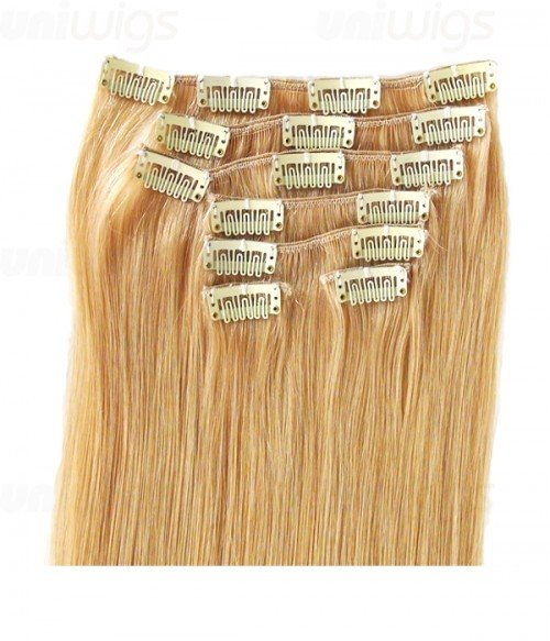 "16"" 7 Piece Straight Clip In Remy Human Hair Extension E71604"