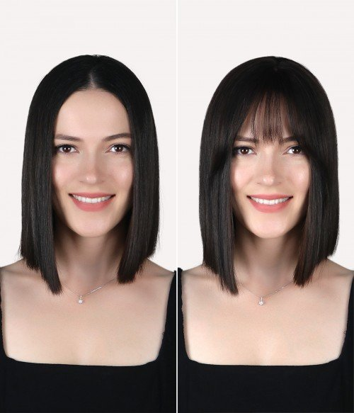 Before/ After Scalp-looking Clip-In Human Hair Bangs / Fringe