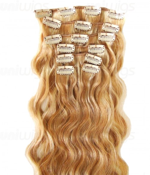 "16"" 7 Piece Body Wave Clip In Remy Human Hair Extension E71607"