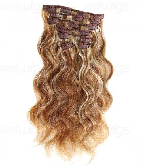"""18"""" 7 Piece Body Wave Clip In Remy Human Hair Extension E71805"""