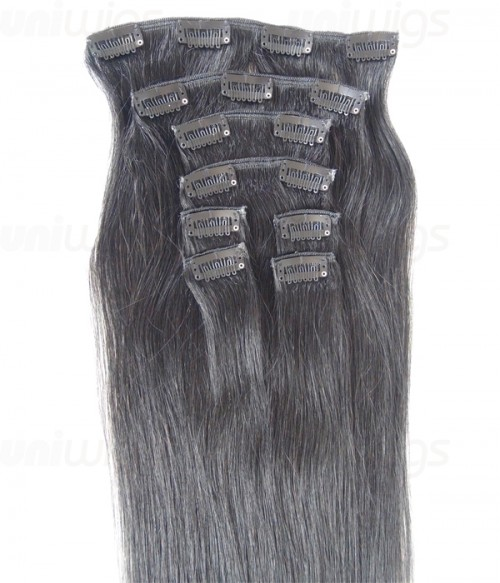 "22"" 8 Piece Straight Clip In Remy Human Hair Extension E82201"