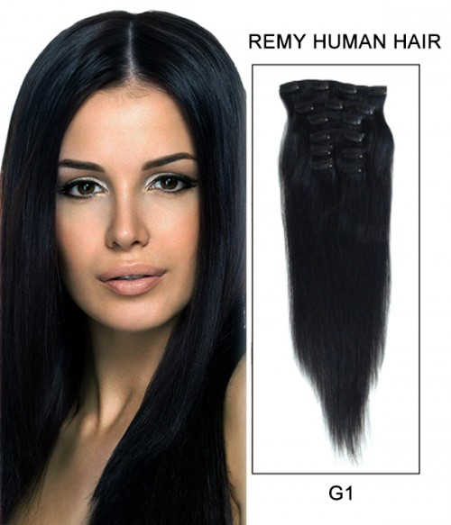 """20"""" 8 Piece Straight Clip In Remy Human Hair Extension E82001"""