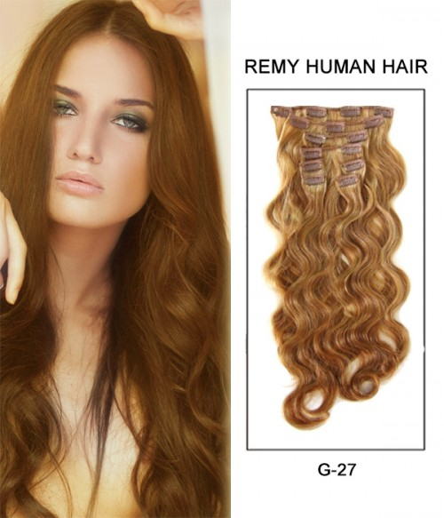 """20"""" 8 Piece Body Wave Clip In Remy Human Hair Extension E82004"""