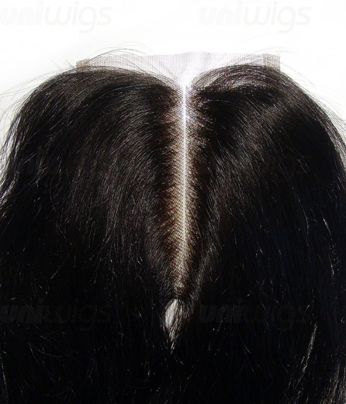 "10"" Natural Straight Brazilian Remy Human Hair Middle Part Lace Top Closure piece (3.5""x4"")"